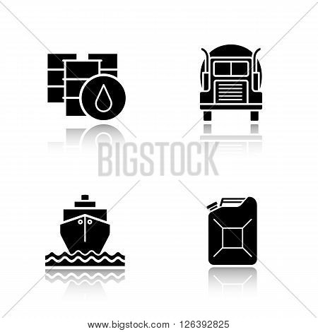 Oil industry black icons set. Barrel and petroleum jerrycan, oil shipping truck and tanker symbols. Logo concepts. Vector illustrations