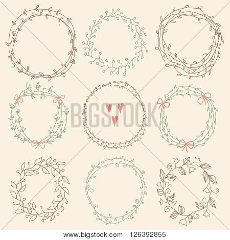 Set of Floral Frames. Vector romantic set of circle floral borders. Sketch frames hand-drawn in vintage style. Vector illustration.