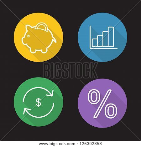 Online banking flat linear long shadow icons set. Piggy bank, income diagram, percentage, money exchange and refund symbols. Finance and business outline logo concepts. Vector line art illustrations