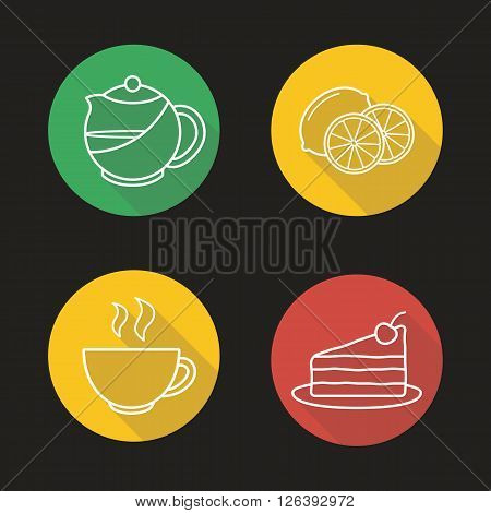 Tea flat linear long shadow icons set. Teapot infuser, steaming teacup, sliced lemon and piece of cake symbols. Cafe hot drinks menu items. Outline logo concepts. Vector line art illustrations