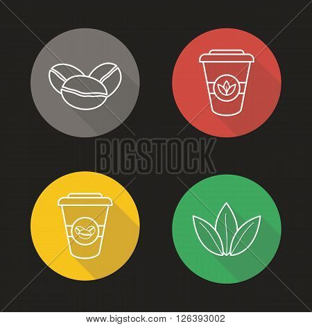Coffee and tea flat linear long shadow icons set. Coffee beans, tea leaves and disposable paper cups symbols. Hot drinks. Coffee to go sign. Outline logo concepts. Vector line art illustrations