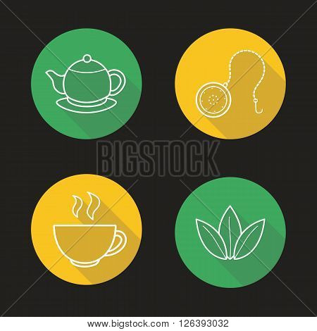 Tea set flat linear long shadow icons set. Teapot saucer, steaming cup, ball infuser and green tea leaves symbols. Outline logo concepts. Vector line art illustrations