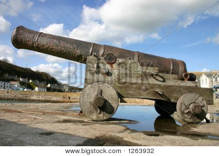 Side View Of A Canon From Hms Anson