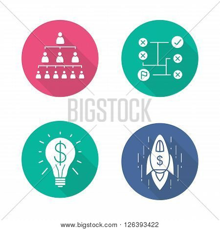Business flat design long shadow icons set. Company hierarchy and problems solving. Commercial success idea and business goal achievement spaceship symbol. Logo concepts. Vector illustrations