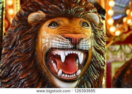 Carousel lion roaring close up and personal