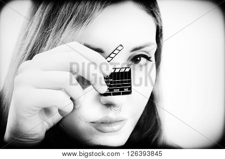 Vintage Style Black And White Woman And Movie Clapper