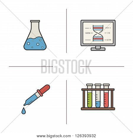 Chemical laboratory equipment color icons set. Laboratory flask and pipette. Pharmacy liquid measurement. Chemical and medical beaker. Scientific glass. Logo concepts. Vector isolated illustrations