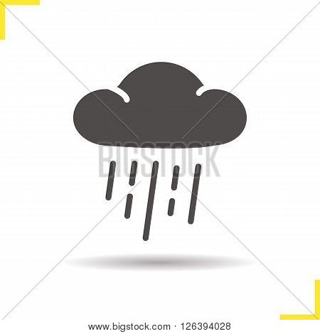 Rain icon. Drop shadow raining cloud icon. Cloudy weather. Autumn weather forecast symbol. Isolated rain cloud black illustration. Rain logo concept. Vector silhouette raining cloud symbol