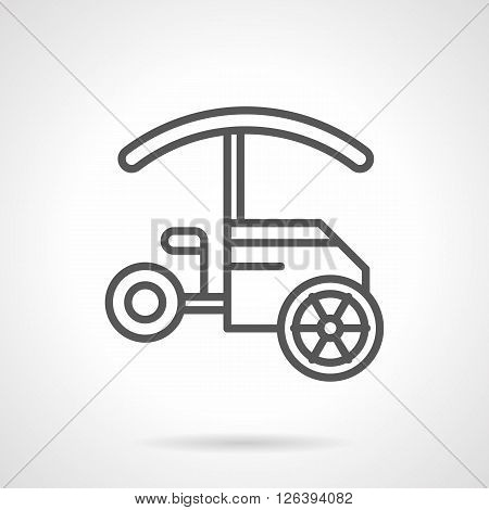Street food trade. Objects for sale fast food and drinks on festivals, parks, seacoast. Tricycle trolley with awning. Simple black line vector icon. Single element for web design, mobile app.