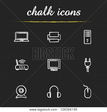 Electronic equipment chalk icons set. Household electronic appliances. Laptop, printer and headphones. Router and system unit. White illustrations on blackboard. Vector chalkboard logo concepts