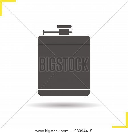 Hip flask icon. Drop shadow alcohol flask icon. Men's personal accessory. Isolated flask black illustration. Hip flask logo concept. Vector silhouette alcohol flask symbol