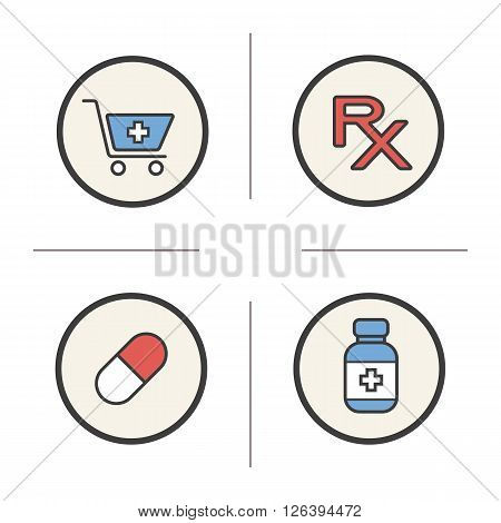 Pharmacy color icons set. Drugstore cart with cross and capsule. Medical prescription and bottle of tablets. Treatment pharmaceutical items. Logo concepts. Vector isolated illustrations
