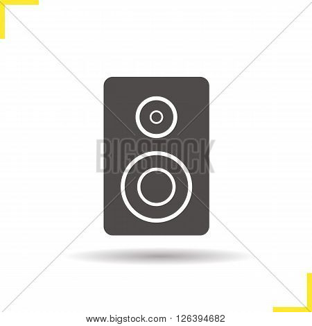 Speaker icon. Drop shadow speaker icon. Desktop computer speaker. Electronic studio equipment. Isolated speaker black illustration. Logo concept. Vector silhouette speaker symbol
