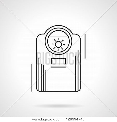 Equipment and appliances for home and office climate. Heater device. Flat line style vector icon. Single design element for website, business.