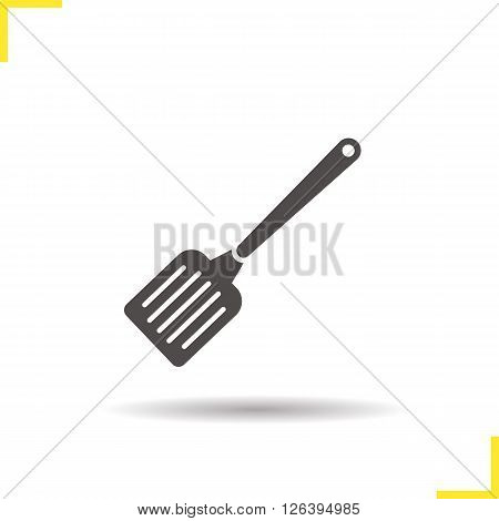 Spatula icon. Drop shadow spatula icon. Household kitchen utensil. Restaurant kitchenware. Isolated spatula black illustration. Logo concept. Vector silhouette spatula symbol