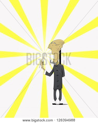 Chinese old man in traditional clothes with dim sum or dumbling. Asian food, culinary concept illustration. Vector