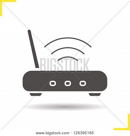 Wi fi icon. Drop shadow wi fi router icon. Wireless internet access device. Isolated wifi black illustration. Wi fi icon logo concept. Vector silhouette wi fi router symbol