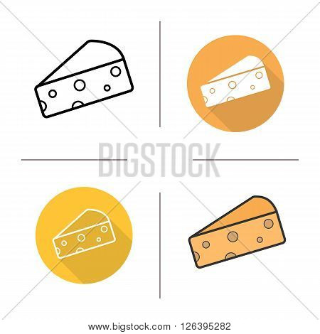 Cheese flat design, linear and color icons set. Hard porous cheese piece. Dairy produce. Milk food product. Long shadow logo concepts. Isolated vector illustrations. Infographic elements