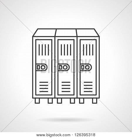 In-room three sections safe. Locker or cabinet for school closet, gym, stadium.   Flat line style vector icon. Single design element for website, business.