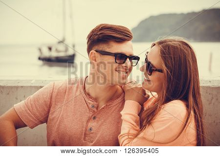 Smiling Couple At Sea