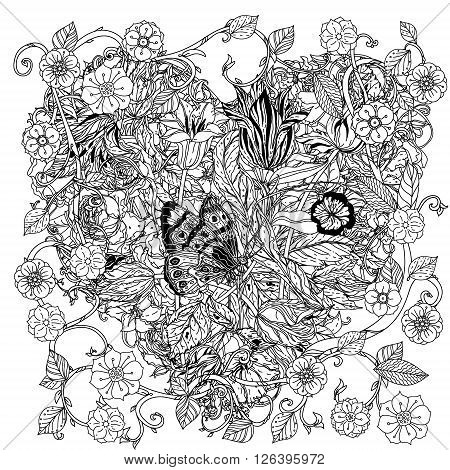 uncolored flowers and butterfly for Adult coloring book in famous zenart style. Hand-drawn, retro, doodle, vector, uncoloured. Black and white. The best for design, textiles, cards, coloring book