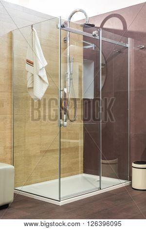 Modern Shower With Glass Door In Luxury Bathroom