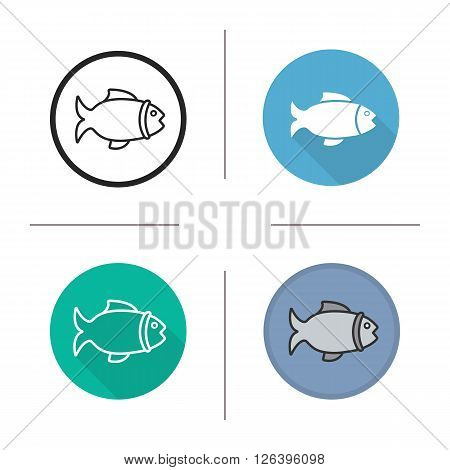 Fish flat design, linear and color icons set. Sea food fish symbol. Fishing icon. Long shadow fishing logo concept. Fish isolated vector illustrations. Infographic elements
