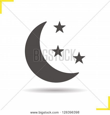 Night icon. Drop shadow moon icon. Astronomical phenomenon. Bedtime. Isolated night black illustration. Logo concept. Vector silhouette moon symbol