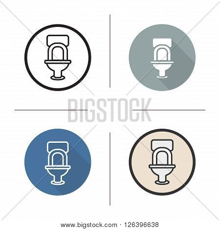 Toilet flat design, linear and color icons set. Lavatory pan. Restroom flush toilet. Sanitation fixture. Long shadow logo concept. Wc toilet isolated vector illustrations. Infographic elements