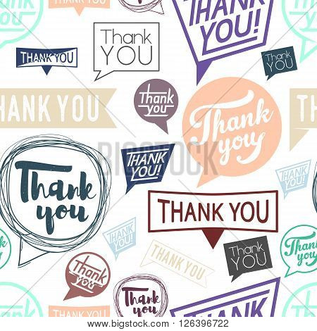 Thank you speech in different style. Seamless pattern. Trend color