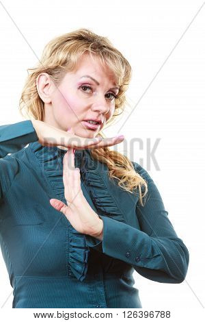 Business Woman With Break Gesture