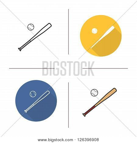 Baseball bat and ball flat design, linear and color icons set. Baseball equipment in different styles. Long shadow logo concept. Isolated bat and ball vector illustrations. Infographic elements