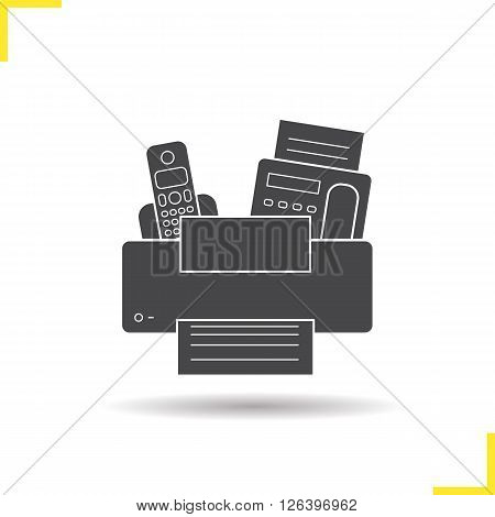 Electronics icon. Drop shadow electronics icon. Printer, telephone and fax. Modern electronic equipment. Isolated black electronix illustration. Logo concept. Vector silhouette electronics symbol