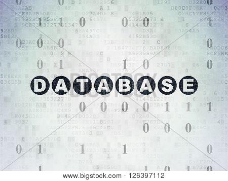 Database concept: Database on Digital Paper background
