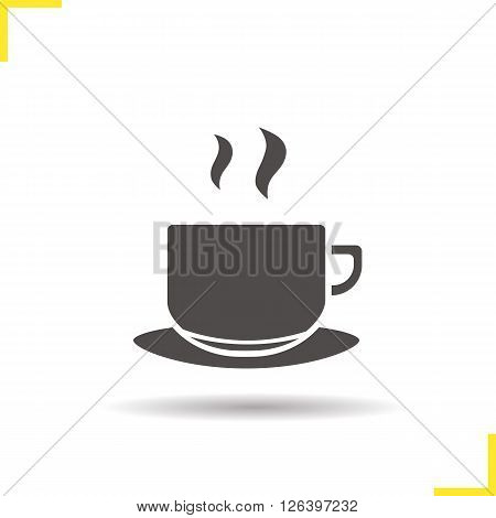 Cup icon. Drop shadow tea cup icon. Hot steamy coffee cup. Hot beverage. Isolated coffee cup black illustration. Logo concept. Vector silhouette tea cup symbol