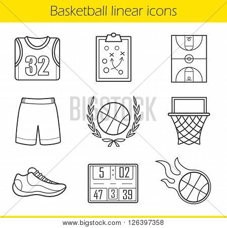 Basketball linear icons set. Basketball uniform, burning ball and scoreboard. Basketball field, hoop and sneaker. Basketball equipment. Thin line illustrations. Vector isolated outline drawings