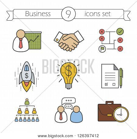 Business color icons set. Teamwork, company hierarchy and work management thin line illustrations. Presentation with graph, signed contract and handshake symbols. Logo concepts. Vector isolated illustrations