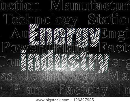 Industry concept: Energy Industry in grunge dark room