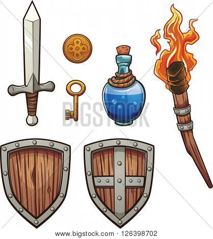 Fantasy themed items. Vector clip art illustration with simple gradients. Each on a separate layer.