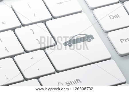 Tourism concept: Car on computer keyboard background
