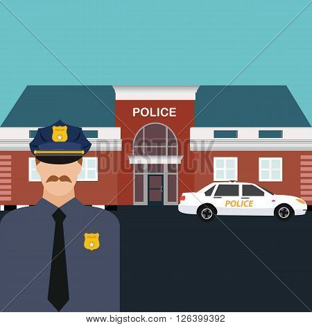 police station officer standing in front of office with car vector cartoon