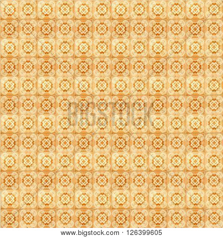 Collage of orange pattern tiles in Lisbon, Portugal repeated to create a seamless, tillable pattern.