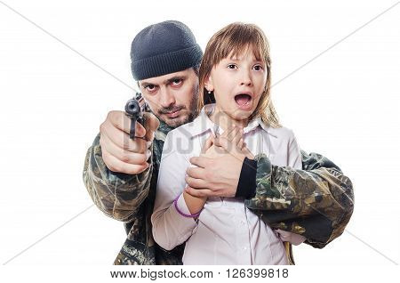 The man with a bristle and the pistol holds the child who shouts.