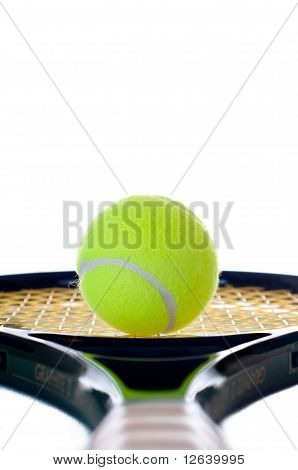 Single Tennis Ball Looking Down The Handle