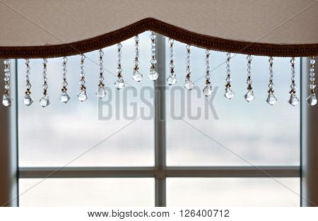 Picture of luxurious curtains on big window at modern home