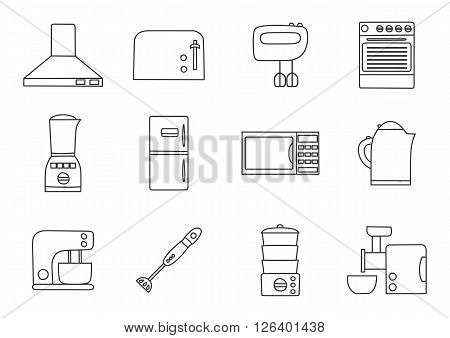 Vector line kitchen appliances icon. Simple flat style of kitchen interior design. Apartment kitchen appliances object. Indoor kitchen design: miser blender steamer toaster and other appliances