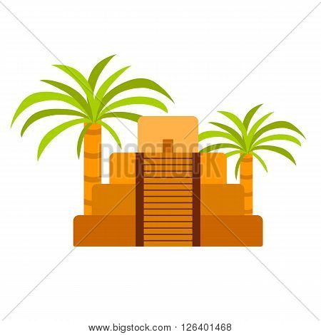 Vector cartoon mexico pyramid. Travel vacation illustration with mexican ancient pyramid. Aztec mayan civilization pyramid. Aztec culture and history. Indian famous pyramid with palms. Mexico logo
