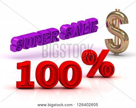 100 PERSENT SUPER SALE business icon keywords gold dollar isolated on white background