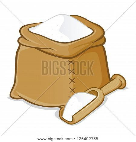 Vector stock of a sack full of flour with wooden scoop