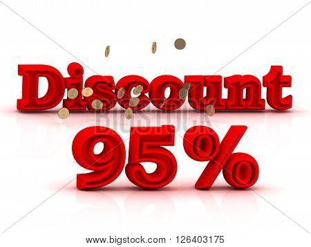 95 PERSENT DISCOUNT HOT PRICE Bright red keywords isolated on white background